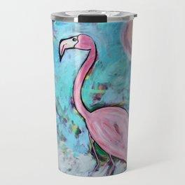 Flamingo at Sunset Travel Mug