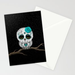 Adorable Teal Blue Day of the Dead Sugar Skull Owl Stationery Cards