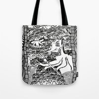 hell Tote Bags featuring Hell by Guice Mann