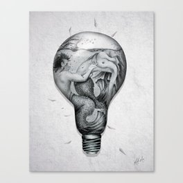 Trapped In This Idea - Black & White Canvas Print