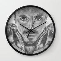 tony stark Wall Clocks featuring Tony Stark as Iron Man by Sarah Georgi