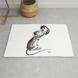 A mouse with a nut sumie ink painting Rug