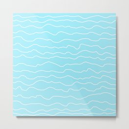 Turquoise with White Squiggly Lines Metal Print