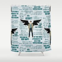 castiel Shower Curtains featuring Castiel by Dorothy Leigh