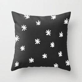 Simple Snowflakes White and Dark Grey  Throw Pillow