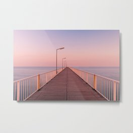 The Pontoon Bridge Mamaia, Black Sea. Dock on the Beach. Seafront Metal Print