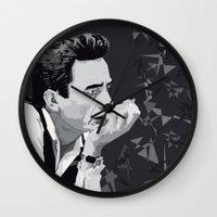 johnny cash Wall Clocks featuring Johnny Cash by Iany Trisuzzi