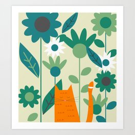 Ginger kitty at the botanic garden Art Print