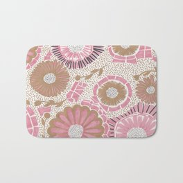 Pink & Gold Flowers Bath Mat
