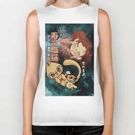 Sushi Chef Neko - Snow Shodou - Junpei and Anzu Design 2 Biker Tank