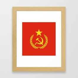 Russian Communist Flag Hammer & Sickle Framed Art Print