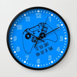 Video Game in Blue Wall Clock