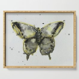 Yellow and Gray Butterfly Serving Tray