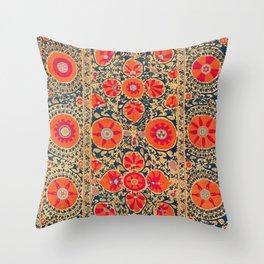 Kermina Suzani Uzbekistan Print Throw Pillow