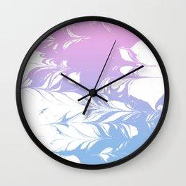 Suminagashi pastel marble blue and pink minimal painting watercolor ocean swirl Wall Clock