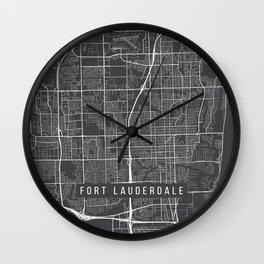 Fort Lauderdale Map, USA - Gray Wall Clock