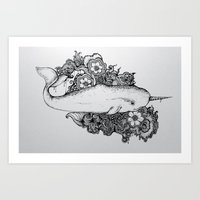 reassurance Art Prints featuring Narwhal by Isabel Peace