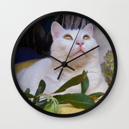 Tyche the white cat of peace Wall Clock