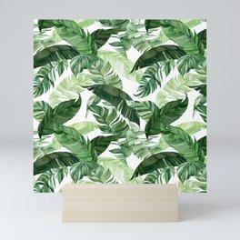 Green leaf watercolor pattern Mini Art Print