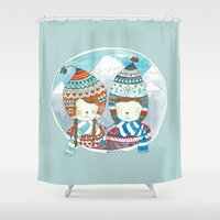 hats Shower Curtains featuring Winter hats by Elya Pingster