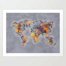 world map 111 #worldmap #world #map Art Print