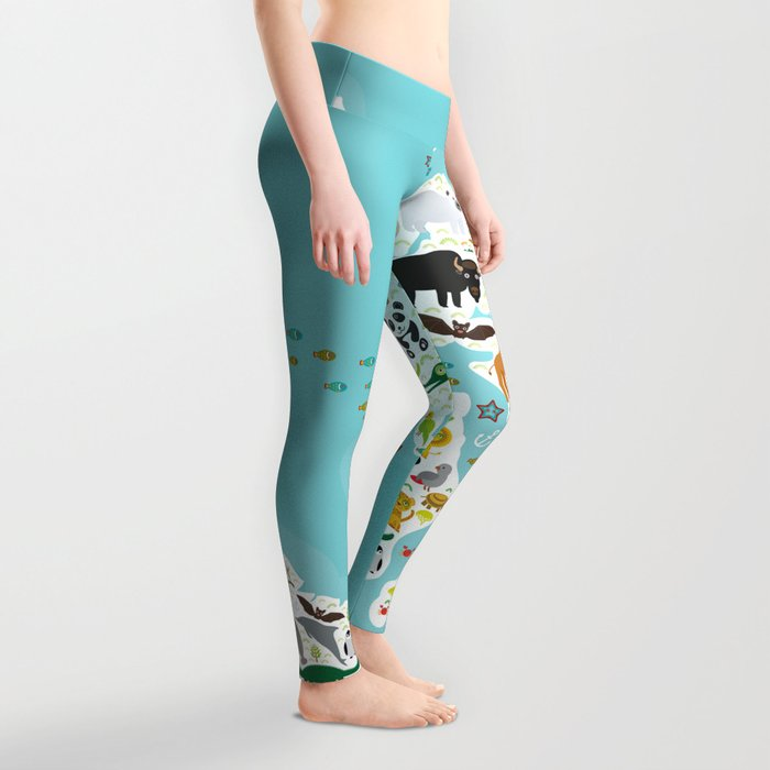 c7a74d6c9d55b Cartoon animal world map for children and kids, Animals from all over the world  Leggings