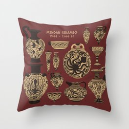 Late Minoan Ceramics - Ancient Pottery Series Throw Pillow