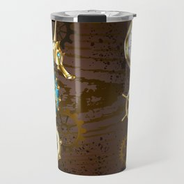 Wooden Background with Mechanical Seahorse ( Steampunk ) Travel Mug