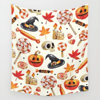 halloween Wall Tapestries featuring halloween by Ceren Aksu Dikenci