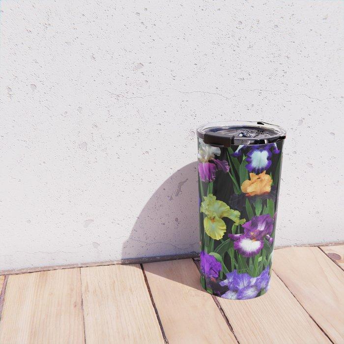 Iris Garden - on black Travel Mug