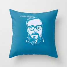 Hello World - This is a portrait of Dennis Ritchie  Throw Pillow