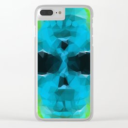 psychedelic skull art geometric triangle abstract pattern in blue and green Clear iPhone Case