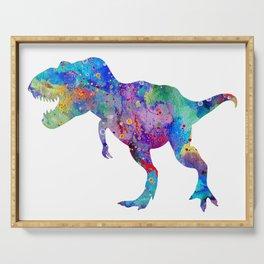 Dinosaur T-Rex Tyrannosaurus Rex Art Animals Nursery Decor Kids Room Watercolor Print Blue Purple Di Serving Tray