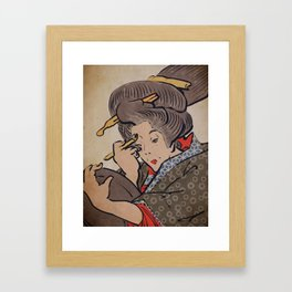 Japanese Prints Inspired Painting of a Woman - The Mirror Framed Art Print