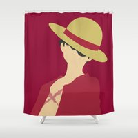 luffy Shower Curtains featuring Luffy by Polvo