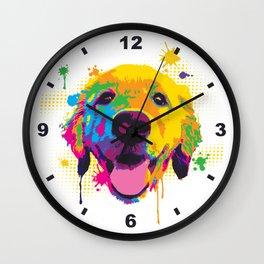 Playful Riley Pup Art Wall Clock