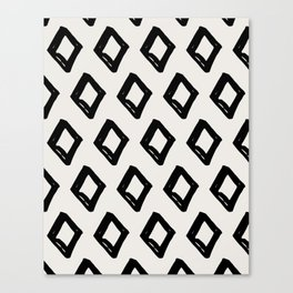 Modern Diamond Pattern Black on Light Gray Canvas Print