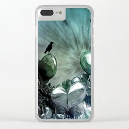 Lost Hearts in Blue, Digital Art Clear iPhone Case