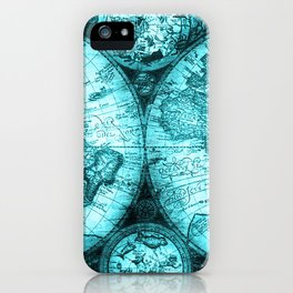 Turquoise Antique World Map iPhone Case