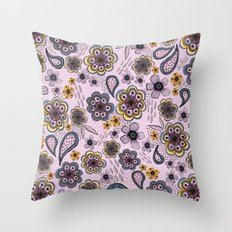 Floral paisley pattern, flowers and paisley surface pattern Throw Pillow