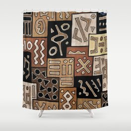 Brown and Black Abstract Mud Cloth Print Shower Curtain