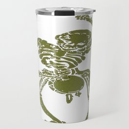 A Zombie Undead Skeleton Marching and Beating A Drum Travel Mug