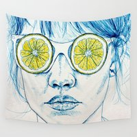 lady Wall Tapestries featuring Lemon Lady by KatePowellArt