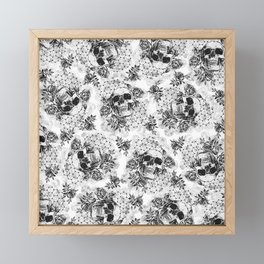 Floral Skull Pattern Framed Mini Art Print