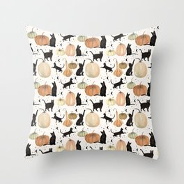 Black Cats Pumpkin Patch Fall Halloween Pattern Throw Pillow