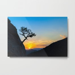 Sunrise in mountains with tree and sea. Metal Print