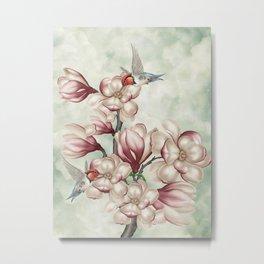 Magnolia Hummingbirds Metal Print