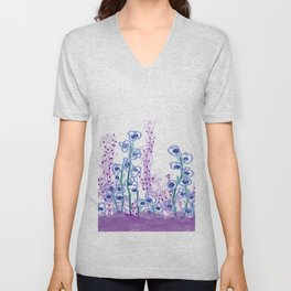 Astract Water Flowers Unisex V-Neck