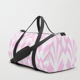 Decorative Plumes - White on Pastel Pink Duffle Bag
