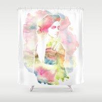 emma watson Shower Curtains featuring Emma Watson Watercolor by nicole lianne